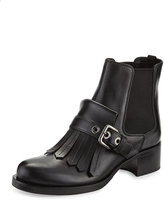 Prada Leather Kiltie Chelsea Boot, Black