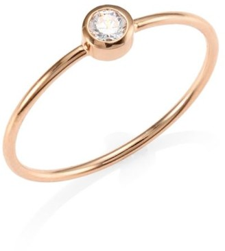 ginette_ny Lonely Diamond 18K Rose Gold Ring