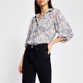 River Island Womens Silver floral print long sleeve chiffon shirt