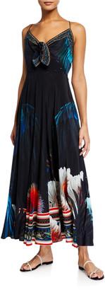 Camilla Tie-Front Printed Maxi Dress