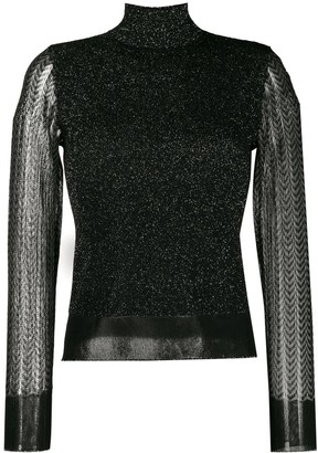 Rag & Bone sheer sleeved roll neck jumper