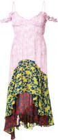 Preen by Thornton Bregazzi colour block floral print layered asymmetric dress