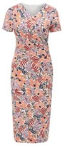 BOSS Floral-print jersey dress with asymmetric ruching