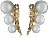 Jardin P Graduated Glass Pearl Curved Post Ear Cuffs, 1 CTTW