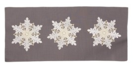 Manor Luxe Sparkling Snowflakes Embroidered Double Layer Christmas Table Runner