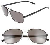 BOSS Men's 58Mm Navigator Sunglasses - Matte Black/ Brown Grey