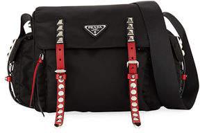 c4c8b9164da7 Prada Black Nylon Messenger Bag with Studding