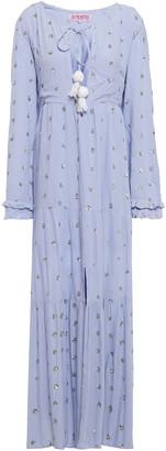 SUNDRESS Embellished Crinkled Gauze Maxi Dress