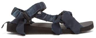 Arizona Love - Trekky Satin-wrapped Velcro-strap Sandals - Womens - Navy
