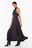 Nasty Gal Womens Time to Halter the Ending Satin Maxi Dress - black - 6