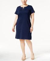Karen Scott Plus Size Lace-Up Knit Dress, Created for Macy's