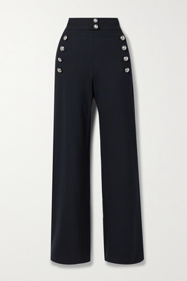 Chloé Button-embellished Stretch-wool Wide-leg Pants - Navy