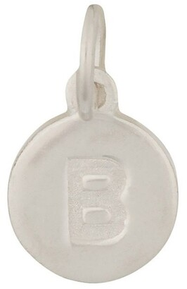 Mocha Round Plate Letter Sterling Silver Charm - B
