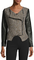 Alberto Makali Tweed Mixed-Media Asymmetric Jacket, Brown
