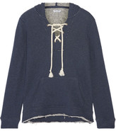 Splendid Lace-up French Cotton-terry Hooded Top - Storm blue