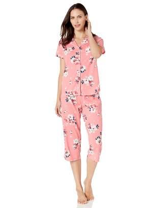 Karen Neuburger Women's Plus Size Short Sleeve Top and Crop Pant Set with Wicking Technology