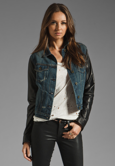Rag and Bone The Jean Jacket with Leather Sleeves