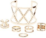 Charlotte Russe Embellished Cuff Bracelet & Rings Set