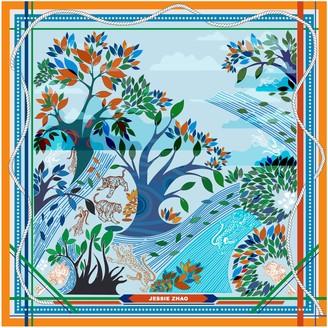 Jessie Zhao New York Silk Scarf In Blue With Animals