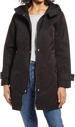 Cotton Blend Hooded Swing Coat
