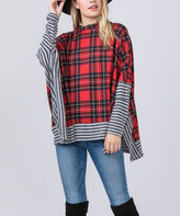 Egs By Eloges egs by eloges Women's Tunics RED - Red & Gray Plaid Stripe Side-Slit Poncho - Women