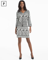 White House Black Market Petite Medallion Printed Knit Blouson Dress
