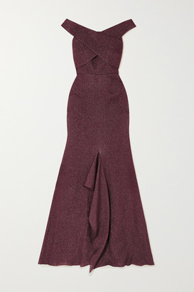 Roland Mouret Ray Off-the-shoulder Metallic Pique Gown - Burgundy