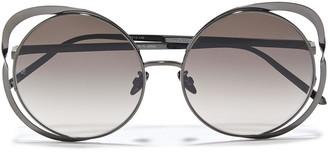 Linda Farrow Round-frame Gunmetal-tone Sunglasses
