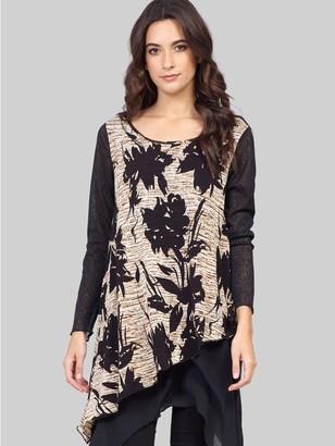 M&Co Izabel floral layered hem long sleeve tunic