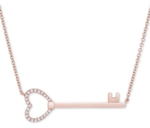 "Wrapped Diamond Key 17"" Pendant Necklace (1/10 ct. t.w.) in 14k Rose Gold, Created for Macy's"