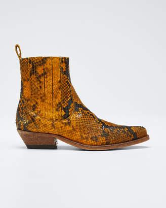 Golden Goose Santiago Snake-Print Leather Booties