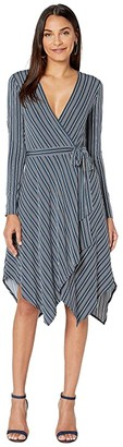BCBGMAXAZRIA Wrap Knit Dress (Midnight Teal/Nouveau Pinstripe) Women's Dress