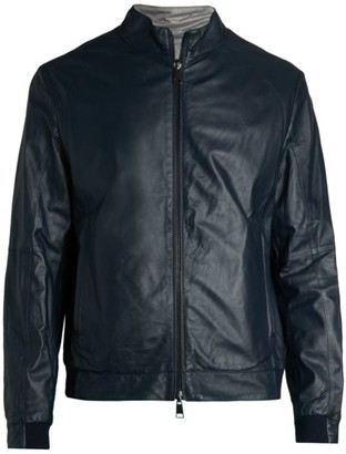 Saks Fifth Avenue COLLECTION Reversible Leather & Nylon Bomber Jacket