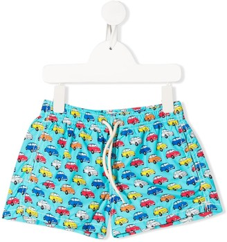 Mc2 Saint Barth Kids Jean car-print swim shorts