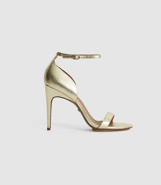 Reiss Paula Leather Strappy Sandals Gold
