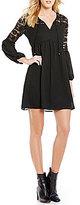 Jodi Kristopher Tie-Front Long Sleeve Lace Inset Babydoll Dress