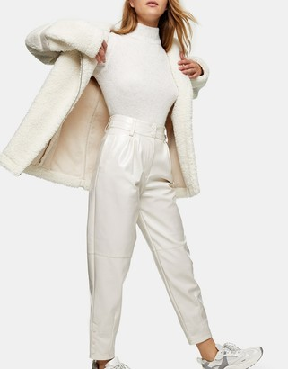 Topshop PU straight leg trousers in white