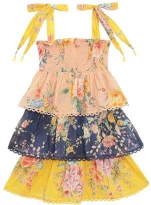 Zimmermann Kids Zinnia Shirred Tiered Dress in Spliced