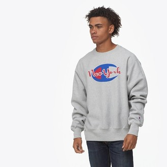 Champion Reverse Weave Graphic Fleece Crew Sweatshirt - Grey / Blue