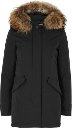 Woolrich Arctic Black Fur-trimmed Padded Twill Parka