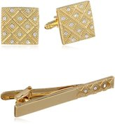 Stacy Adams Men's Gold Cuff Link and Tie Bar With Crystals Set