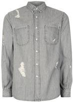 Topman Grey Ripped Denim Shirt
