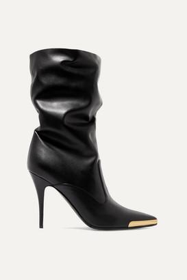 Stella McCartney Embellished Faux Leather Boots - Black