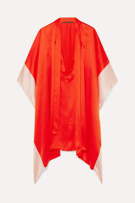 Haider Ackermann Two-tone Silk-satin Kaftan - Orange