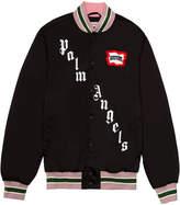 Palm Angels x icecream skull varsity jacket black