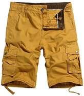 OCHENTA Men's Cotton Casual Multi Pockets Cargo Shorts Army green