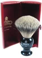 Kent Black Traditional Travel Silver Tip Badger Shave Brush - BLK4
