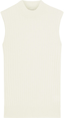Iris & Ink Francesca Ribbed Merino Wool And Cotton-blend Top