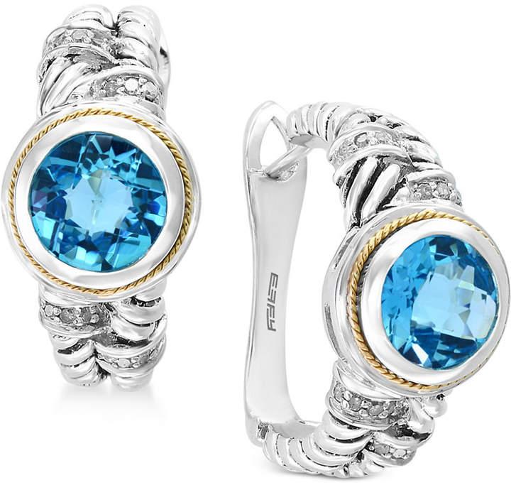 Effy Final Call by Blue Topaz (4-1/3 ct. t.w.) & Diamond (1/6 ct. t.w.) Hoop Earrings in Sterling Silver & 18k Gold