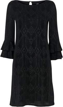 Wallis Black Glitter Flute Sleeve Dress